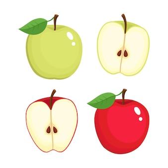 Jasne wektor zestaw kolorowe pół i całe soczyste jabłko. świeże jabłka kreskówka na białym tle.