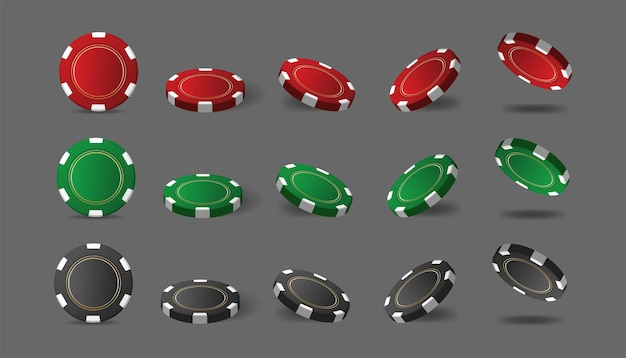 Jasne, wielokolorowe żetony kasynowe do pokera lub ruletki. elementy projektu logo, strony internetowej, banera, ulotki lub tła. ilustracja wektorowa.