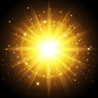 Jasne, wysokiej jakości złote światło na nowy rok i święta. zaprojektowany, aby ustawić uderzający efekt światła słonecznego.
