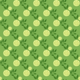 Jasne zielone kolory ukośne plasterki cytryny wydrukować wzór. letnie elementy owoców żywności. nadruk natury. ilustracji. projekt wektor dla tekstyliów, tkanin, prezentów, tapet.