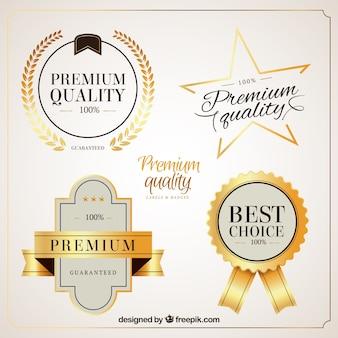 Jasne złote odznaki jakości premium