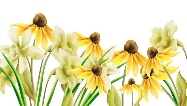 Jasne żółte kwiaty żonkila w stylu przypominającym akwarele. transparent