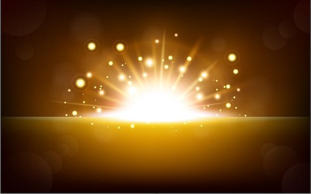 Jasne żółte światło unoszące się z ciemnego horyzontu