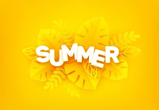 Jasne żółte tło lato. napis summer otoczony wyciętymi z papieru tropikalnymi liśćmi palmy na żółto