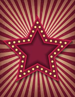 Jasno świecący neonowy znak gwiazdy retro kina. styl cyrkowy pokaż szablon pionowego banera.