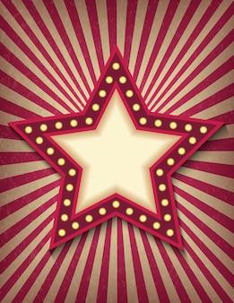 Jasno świecący neonowy znak gwiazdy retro kina. styl cyrkowy pokazuje szablon pionowego banera.