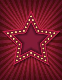 Jasno świecący neonowy znak gwiazdy retro kina.