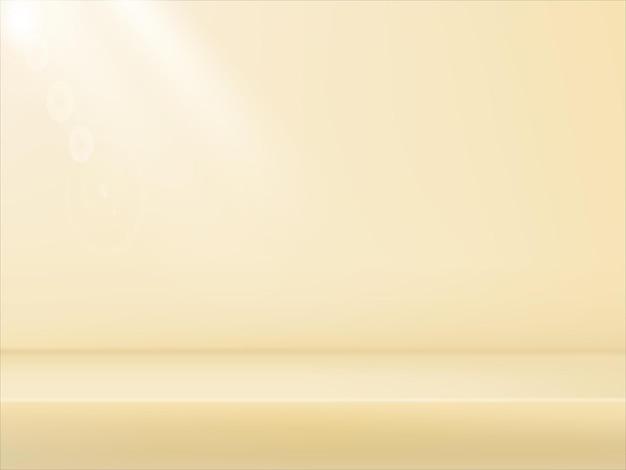Jasnobeżowe tło studio 3d. ciepły, miękki reflektor z efektem bokeh. gradient niewyraźne tło. oświetlenie studia fotograficznego w miękkim pudełku.