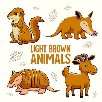 Jasnobrązowe zwierzęta cartoon armadillo goat aardvark xerus