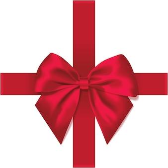 Jasnoczerwona kokardka z jedwabnej wstążki na prezent