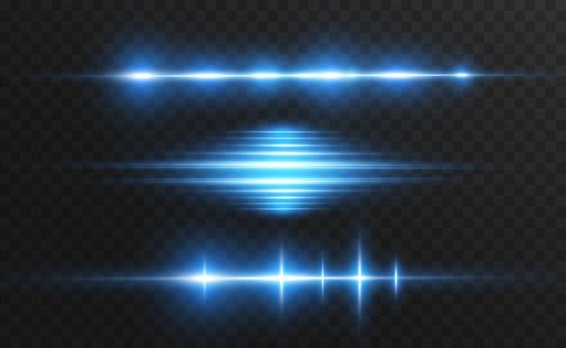 Jasnoniebieski efekt specjalny. świecące jasne paski na przezroczystym tle.