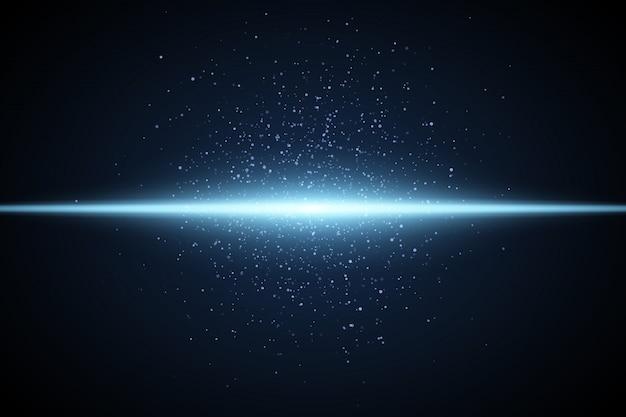 Jasnoniebieski efekt. świecąca linia kurzu i neonu. streszczenie błyszczy. ilustracja