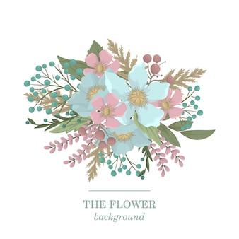 Jasnoniebieski i różowy kwiat clipart