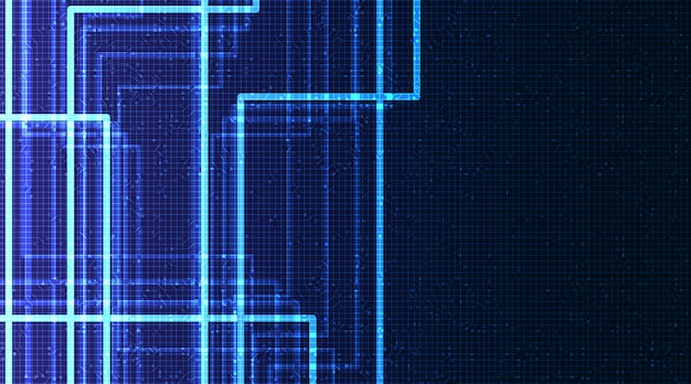 Jasnoniebieski microchip obwodu na tle technologii, koncepcja hi-tech cyfrowe i sieci