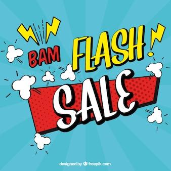 Jasnoniebieski projekt sprzedaży flash w stylu komiksu