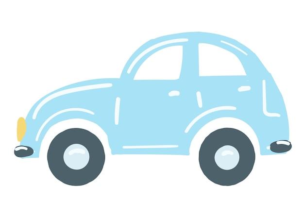 Jasnoniebieski samochód na białym tle samochód ręcznie rysowane kreskówka styl wektor ilustracja transport osobisty