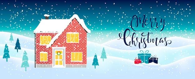 Jasnoniebieski streszczenie tło boże narodzenie z napisem dom zima i białe płatki śniegu musujące