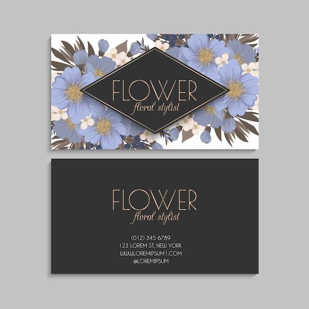 Jasnoniebieski szablon kwiat wizytówki
