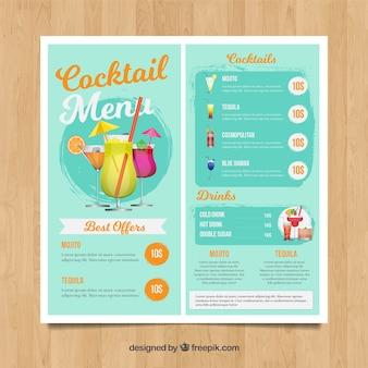 Jasnoniebieskie menu koktajlowe