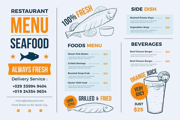 Jasnoniebieskie menu restauracji dla platformy cyfrowej