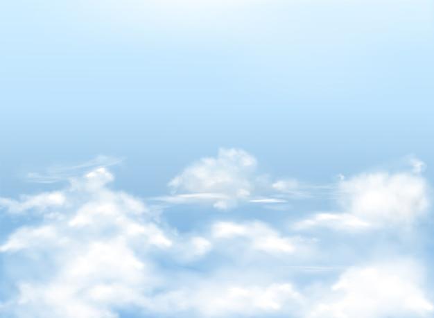 Jasnoniebieskie niebo z białymi chmurami, realistyczne tło, naturalny baner z niebiosami.