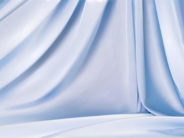 Jasnoniebieskie satynowe, piękne tło tkaniny w stylu opadającym