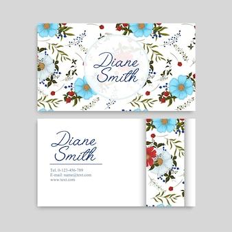 Jasnoniebieskie wizytówki kwiatowe