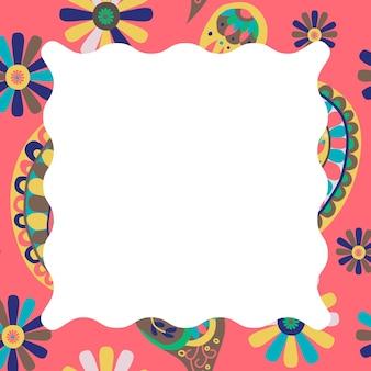 Jasnoróżowa ozdobna ramka wzór paisley