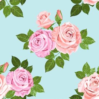 Jasnoróżowy i beżowy róż wzór na niebiesko