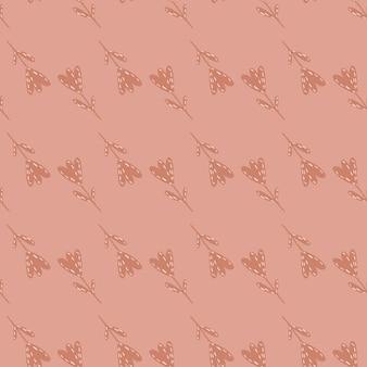 Jasnoróżowy Wzór Wiosna Z Ręcznie Rysowane Sylwetki Tulipanów. Nadruk Botaniczny. Ilustracja Wektorowa Dla Sezonowych Wydruków Tekstylnych, Tkanin, Banerów, Teł I Tapet. Premium Wektorów