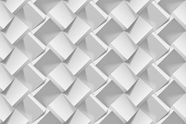 Jasnoszary abstrakcyjny wzór geometryczny bez szwu. realistyczne 3d kostki z białego papieru. szablon