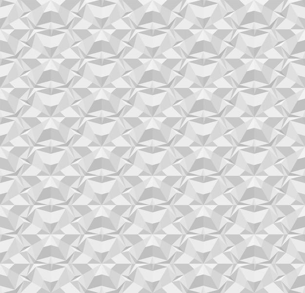 Jasnoszary wielokątne wzór papieru bez szwu. powtarzająca się geometryczna tekstura z efektem wytłaczania. ilustracja z efektem origami na tle, tapecie, wnętrzu, papierze do pakowania. eps 10
