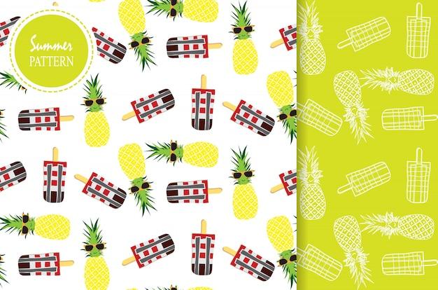 Jasnożółty zielony biały wzór z ananasem