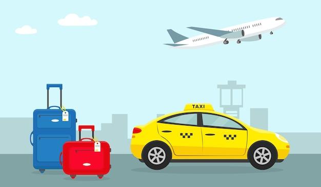 Jasny bagaż podróżny w pobliżu taksówki na lotnisku i samolotu na niebie