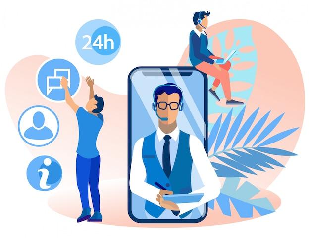 Jasny baner call center operatora cartoon mieszkanie