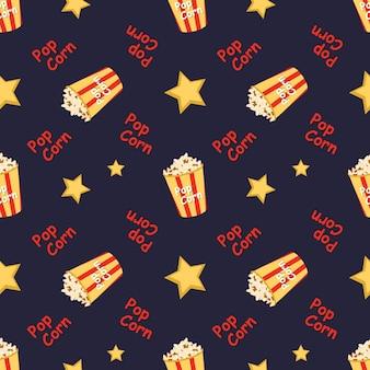 Jasny bezszwowy wzór ze świątecznym pudełkiem z popcornowymi słowami i jasnym nadrukiem w gwiazdy do kina kinowego...