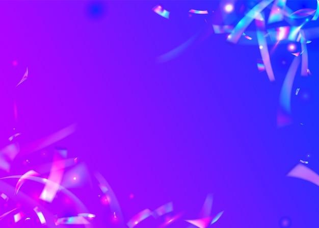Jasny blask. niebieskie błyszczące błyszczy. tło hologramu. kryształowa tekstura. retro wybuch. metalowa tapeta karnawałowa. sztuka współczesna. folia glamour. blask fioletowego światła