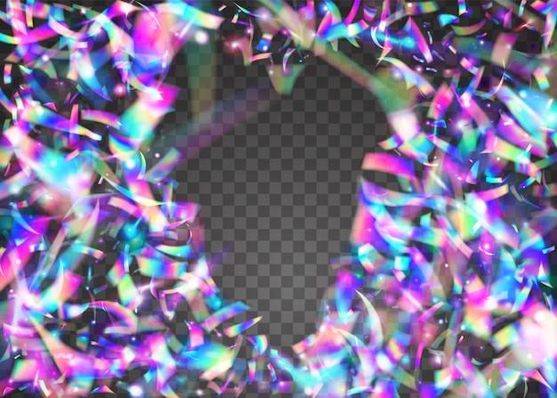 Jasny blask. sztuka jednorożca. retro pryzmatyczna ilustracja. glitch błyszczy. rozmycie projektu. surrealistyczna folia. świecidełko z kalejdoskopu. fioletowe błyszczące konfetti. blask niebieskiego światła