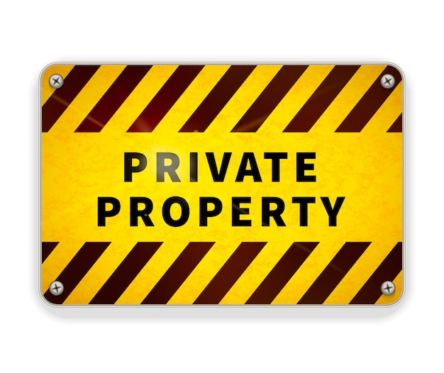Jasny błyszczący metalowy talerz, szablon znak ostrzegawczy własności prywatnej na białym tle
