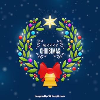 Jasny christmas wieniec w tle
