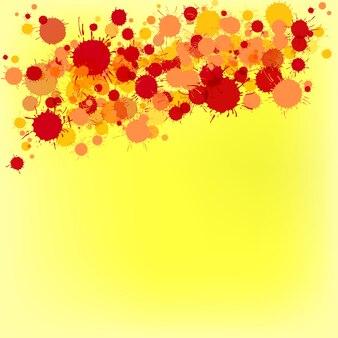 Jasny czerwony i pomarańczowy wektor artystycznej farby akwarelowej spada na żółtym tle. kartkę z życzeniami lub szablon zaproszenia z miejscem na tekst