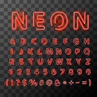 Jasny czerwony neon litery czcionki na przezroczystym tle.
