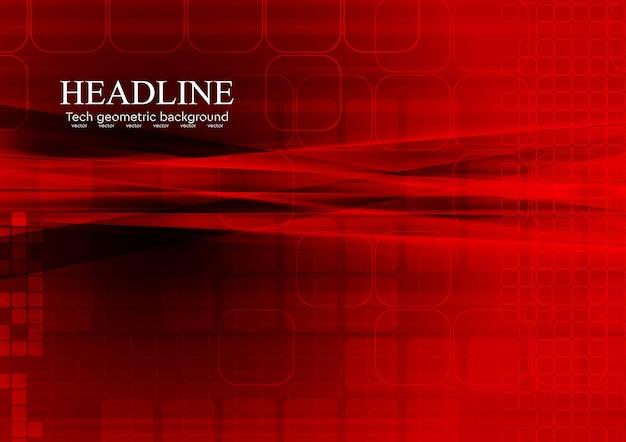 Jasny czerwony tech streszczenie tło. projekt wektorowy