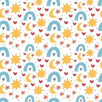Jasny dziecięcy wzór w stylu boho. słońce, księżyc, gwiazdy, tęcza. wystrój do pokoju dziecięcego. ilustracja do książki dla dzieci. ładny plakat. prosta ilustracja.
