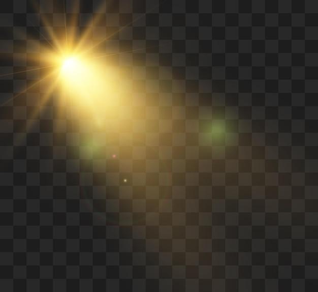 Jasny efekt świetlny z promieniami i pasemkami.