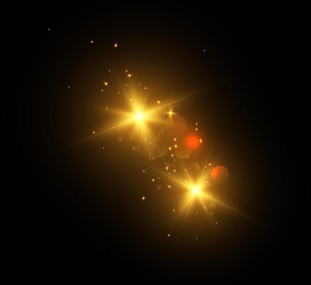Jasny efekt świetlny z promieniami i pasemkami