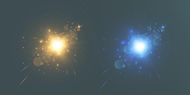 Jasny efekt świetlny z promieniami
