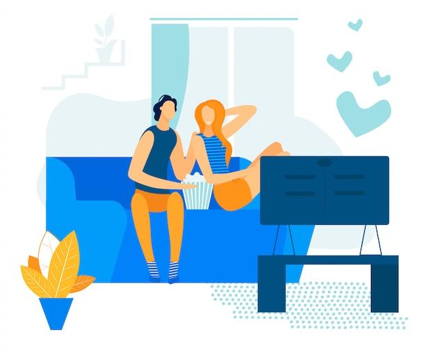 Jasny flyer wypoczynek para zakochanych kreskówka mieszkanie.