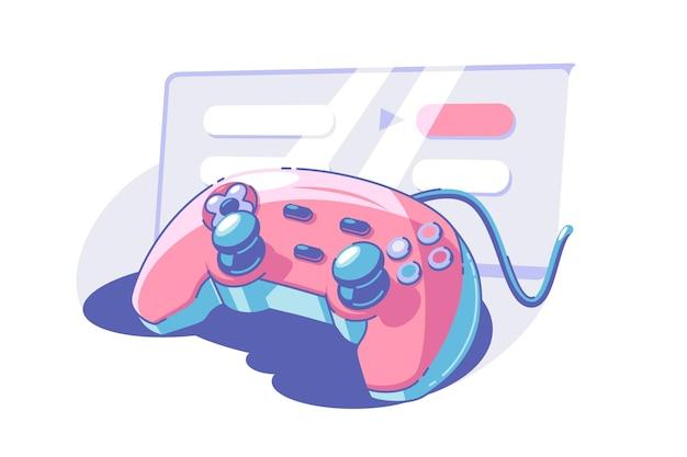 Jasny gamepad z gałkami ilustracji wektorowych joystick lub kontroler płaski zabawny pomysł na zabawę i rozrywkę na białym tle