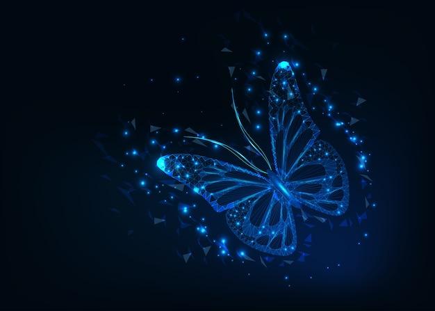 Jasny i piękny świecący motyl low poly.